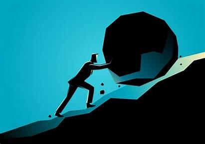 Effort Pushing Uphill Rock