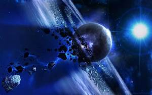 asteroids, planets, stars, outer space, blue :: Wallpapers