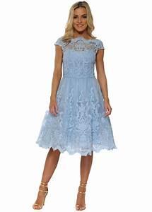 chi chi rhiannon dress blue baroque lace tea dress With powder blue dress for wedding guest