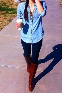 Light jean shirt dark blue jeans brown boots - The Tres Chic