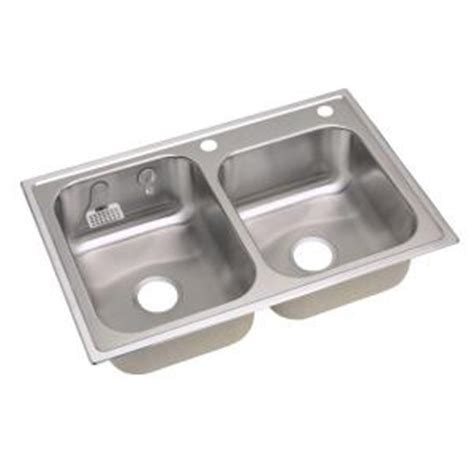 elkay top mount stainless steel 33x22x8 in 2 hole double