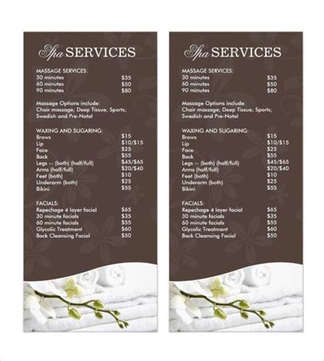 spa menu template spa menu template the best template ideas