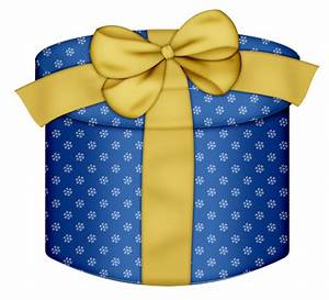 Blue Round Gift Box with Yellow Bow PNG Clipart | Gallery ...