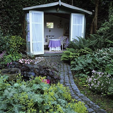 garden with shed landscape design decorating ideas