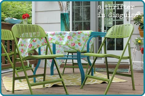Metal Patio Furniture Makeover by A Thrifter In Disguise Diy Metal Folding Patio Chairs