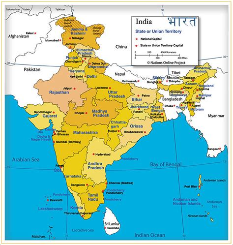 Map of India - States and Capital ~ RAS Exam 2019 News ...