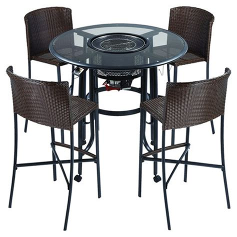 table with grill built in bar set with center grill and four woven chairs product