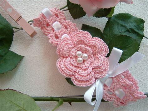 fiori di cotone all uncinetto fascia di cotone rosa da beb 232 fascia per capelli da