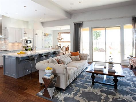 Gray Living Room Blue Kitchen by Photos Hgtv