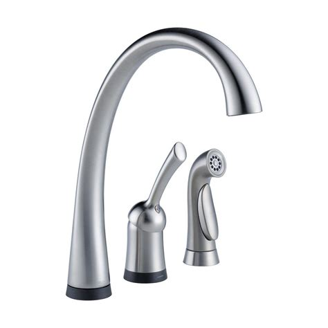 delta single handle kitchen faucet with spray delta faucet 4380t ar dst pilar waterfall single handle