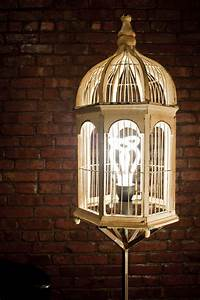 Stylish birdcage table lamp white pattern lampshade for White floor lamp with birds