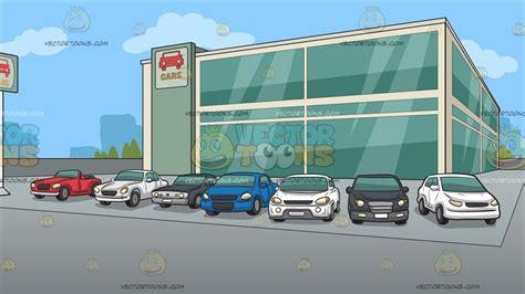 Outside A Modern Car Dealership Background