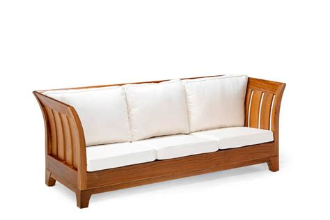 solid wood sofa curved sides cushioned seat backrest