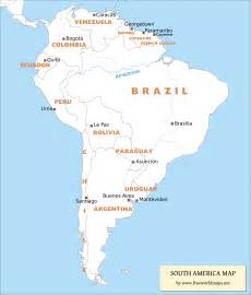 South America Countries and Capitals Map