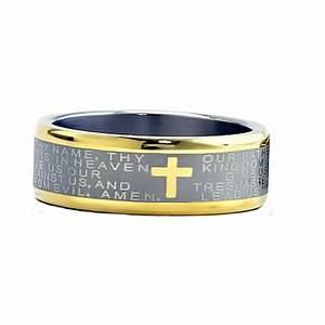 8mm Two Tones Titanium Christian Cross Bible Scroll Etch