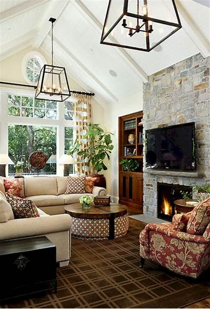 Fireplace Living Ceiling Vaulted Decor Keeping Previous