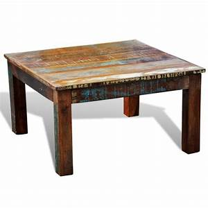 vintage style square reclaimed wood coffee table buy With vintage inspired coffee table