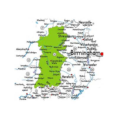 Map of Powys in Wales - Useful information about