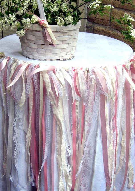 shabby chic fabric garland shabby chic fabric garland pink and cream