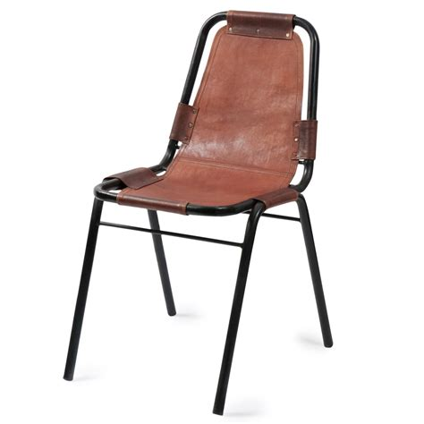 maison du monde chaise leather and metal industrial chair in brown wagram