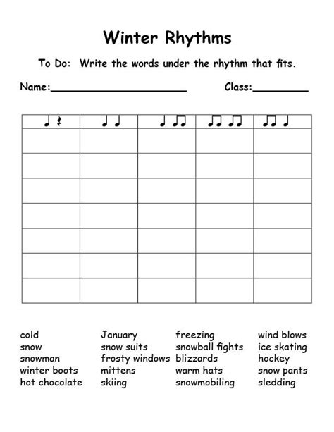 Winterrhythms (syllables) This Is Great!! Could Be Used For Any Word List!  Elementary Music
