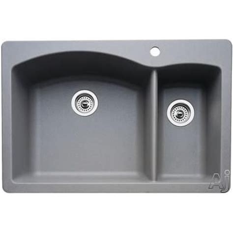 grey kitchen sinks blanco 440198 metallic gray drop in or undermount 1504