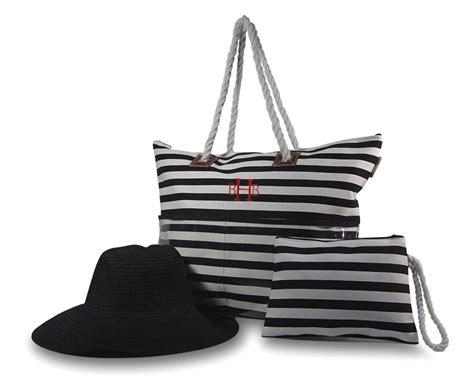 jute black white stripe beach bag  hat