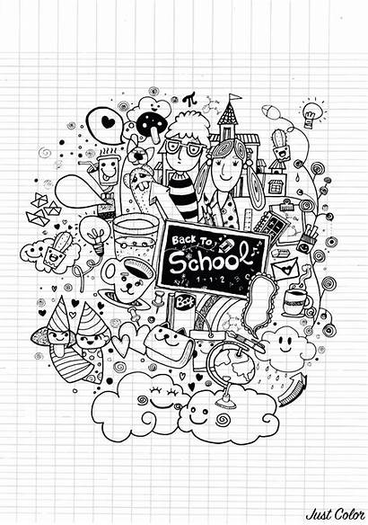 Doodle Coloring Funny Kawaii Doodling Characters Adult