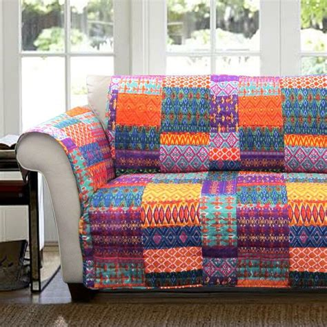 Yellow Loveseat Slipcover by Orange Yellow Blue Purple Boho Patchwork Loveseat