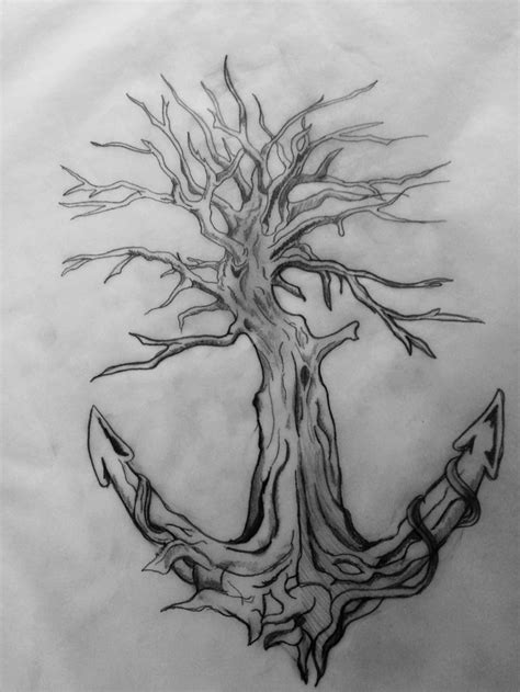 Tattoo of a tree turning into a anchor through wraparound segments of an anchor as well as make