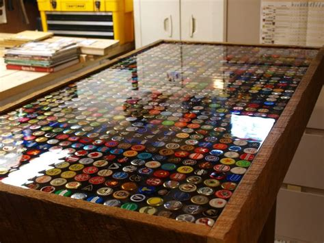 pin  mary kerr  home family bottle cap table beer
