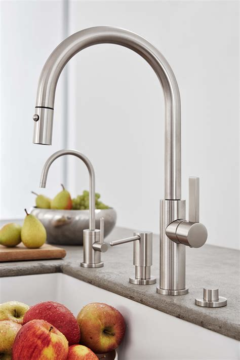 kitchen sink faucet placement california faucets is simplifying kitchen design 5786