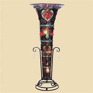 Tiffany style 435quot stained glass ruby ribbons vase floor for Tiffany style vase floor lamp