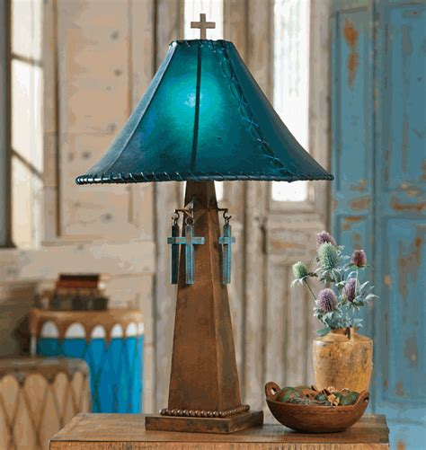 santa cruz turquoise table lamp  rawhide shade