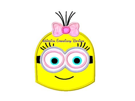 minion girl face machine embroidery applique design instant  meylah