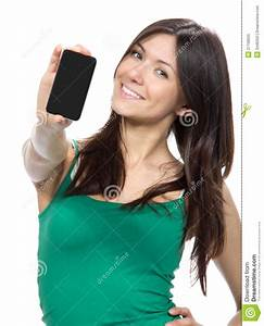 Woman Show Display Of Mobile Cell Phone Stock Image ...