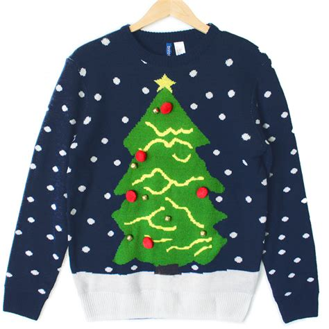 christmas tree navy blue tacky ugly holiday sweater the
