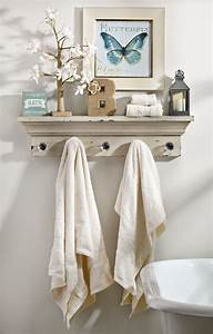 how to decorate using a wall shelf with hooks shelves With shelf with hooks for bathroom