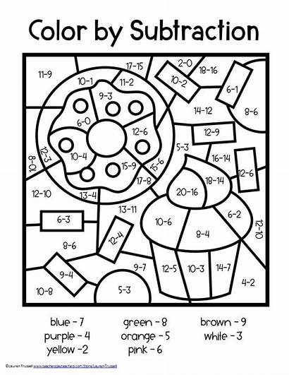 Subtraction Number Math Grade Worksheets Coloring 2nd
