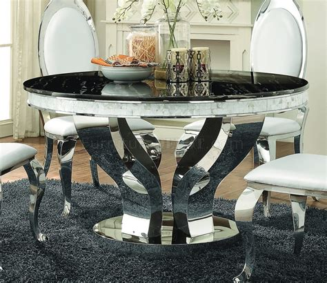 anchorage dining table  coaster wchrome base options