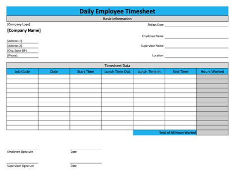 daily timesheet template    replicon