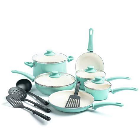 ceramic nonstick cookware set kitchen pots  pans healthy cook turquoise  pc ebay