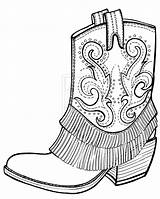 Boots Coloring Cowboy Cowgirl Neo sketch template