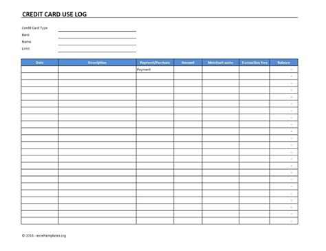 Maybe you would like to learn more about one of these? Credit Card Use Log Template Excel Templates Excel Spreadsheets pertaining to Credit Card ...
