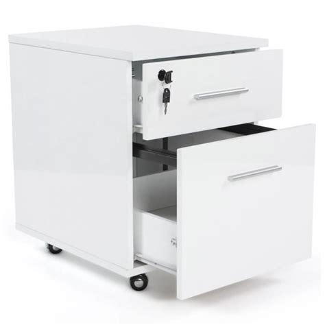 bureau a tiroir caisson 2 tiroirs en bois mdf laqué blanc achat