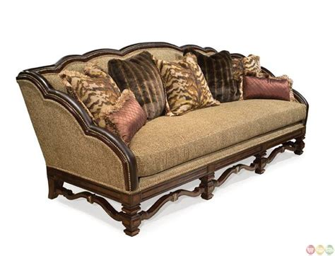exposed wood frame sofa alyssa traditional fabric sofa w exposed wood frame