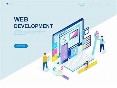 Web Development Isometric Concept Flat Vector Modern