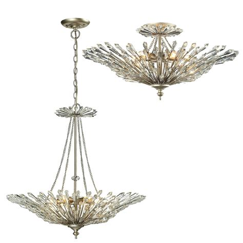elk 31432 6 viva aged silver flush ceiling light fixture