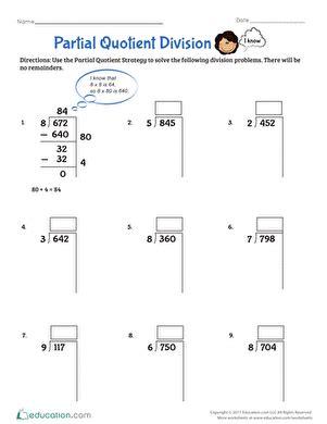 partial quotient division worksheet educationcom