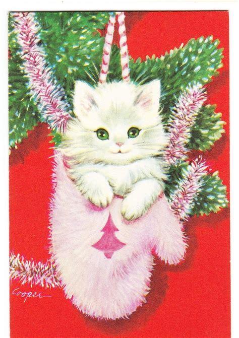 vintage marjorie cooper kitty  pink glove christmas